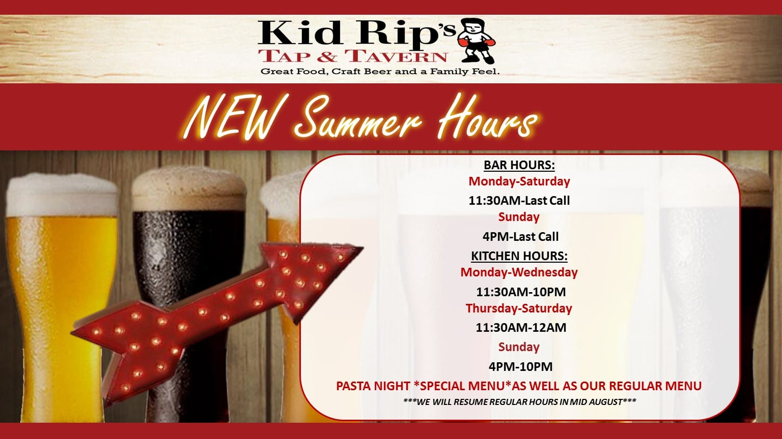 New Summer Hours - Kid Rip\'s Tap & Tavern